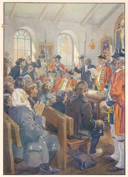 Deportation of Acadians order, read by Winslow in Grand-Pr� church, painting by C.W. Jefferys